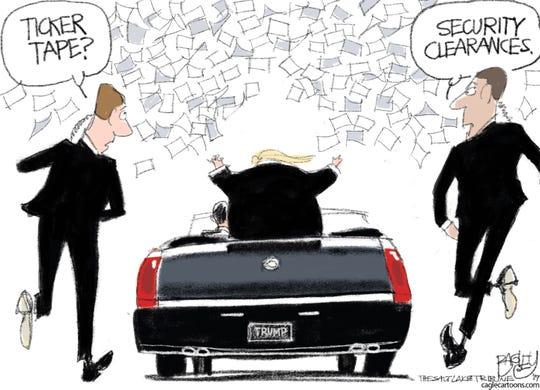trump's security clearances like ticker tape parade