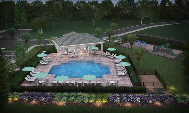 Amenities include a resort-style pool with large sundeck, cabana with covered seating and playground area.