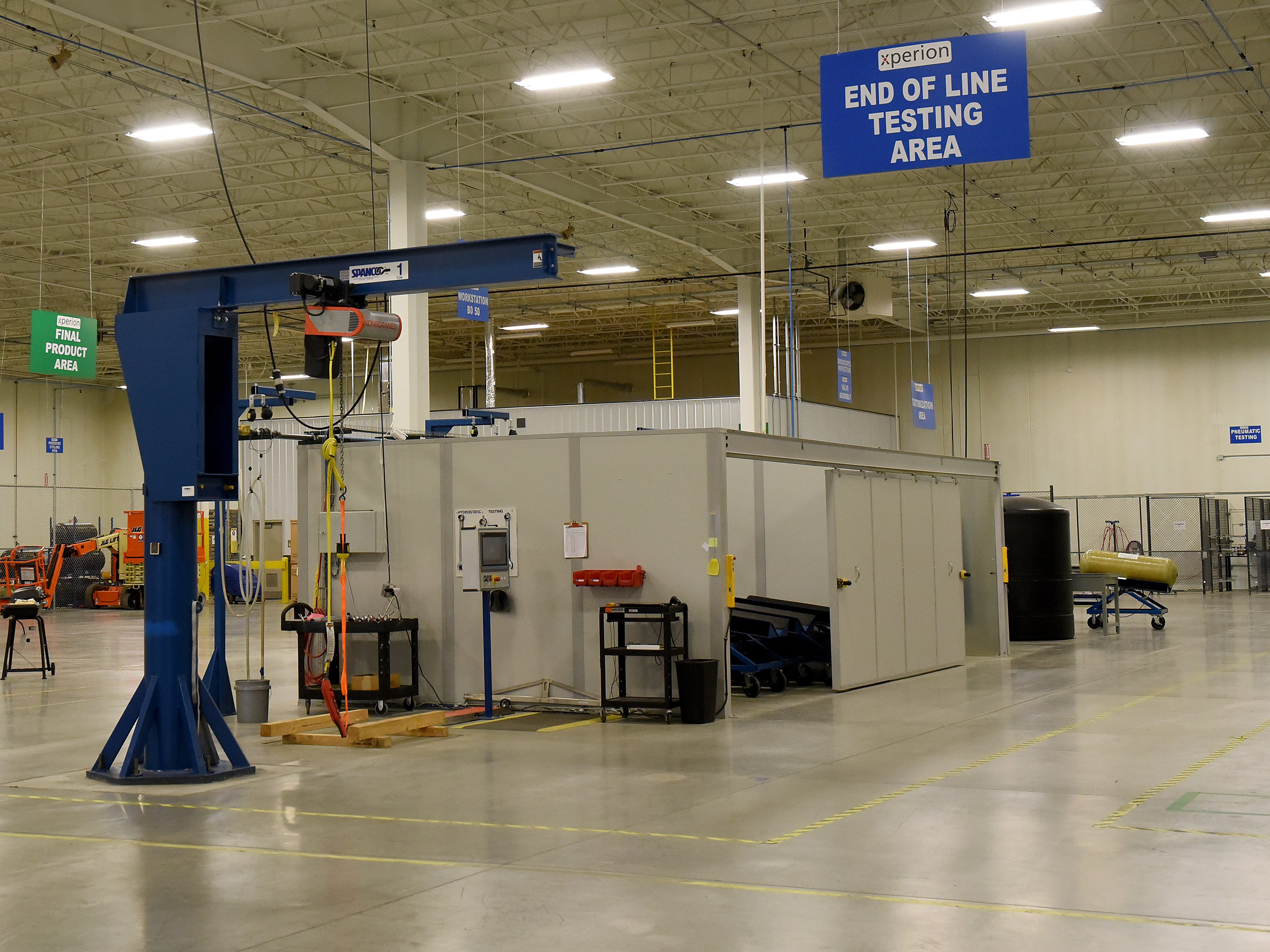 Testing and storage area at Hexagon Purus, former location of Xperion, at the growing Central Ohio Aerospace and Technology Center campus in Heath.