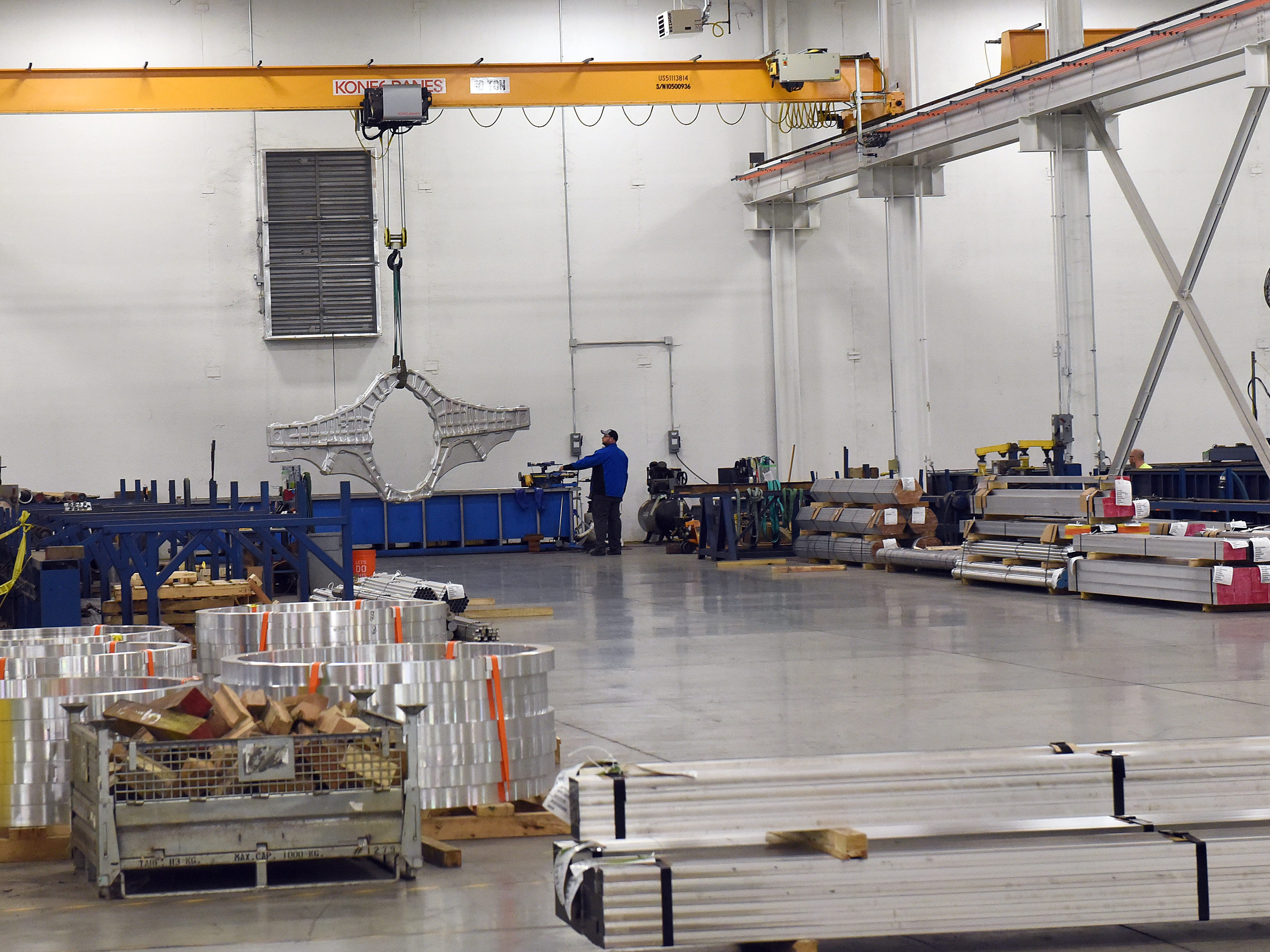 The bulk head for a fighter jet undergoes an ultrasonic stress test at Mistras Group.