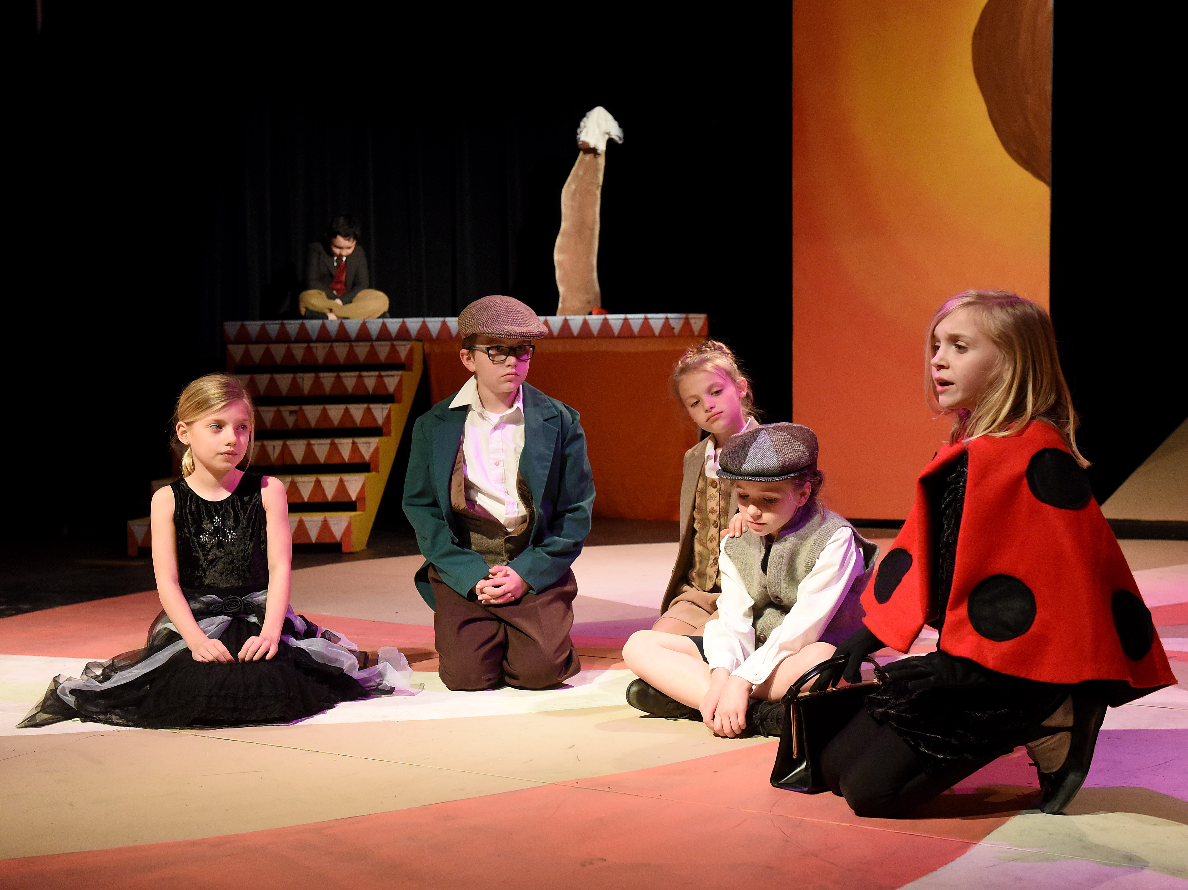 """The cast member rehearse for Weathervane Young Artists' Repertory Theatre's production of """"James and the Giant Peach"""" . The musical, based on the novel by Roald Dahl, on Friday, April 5."""