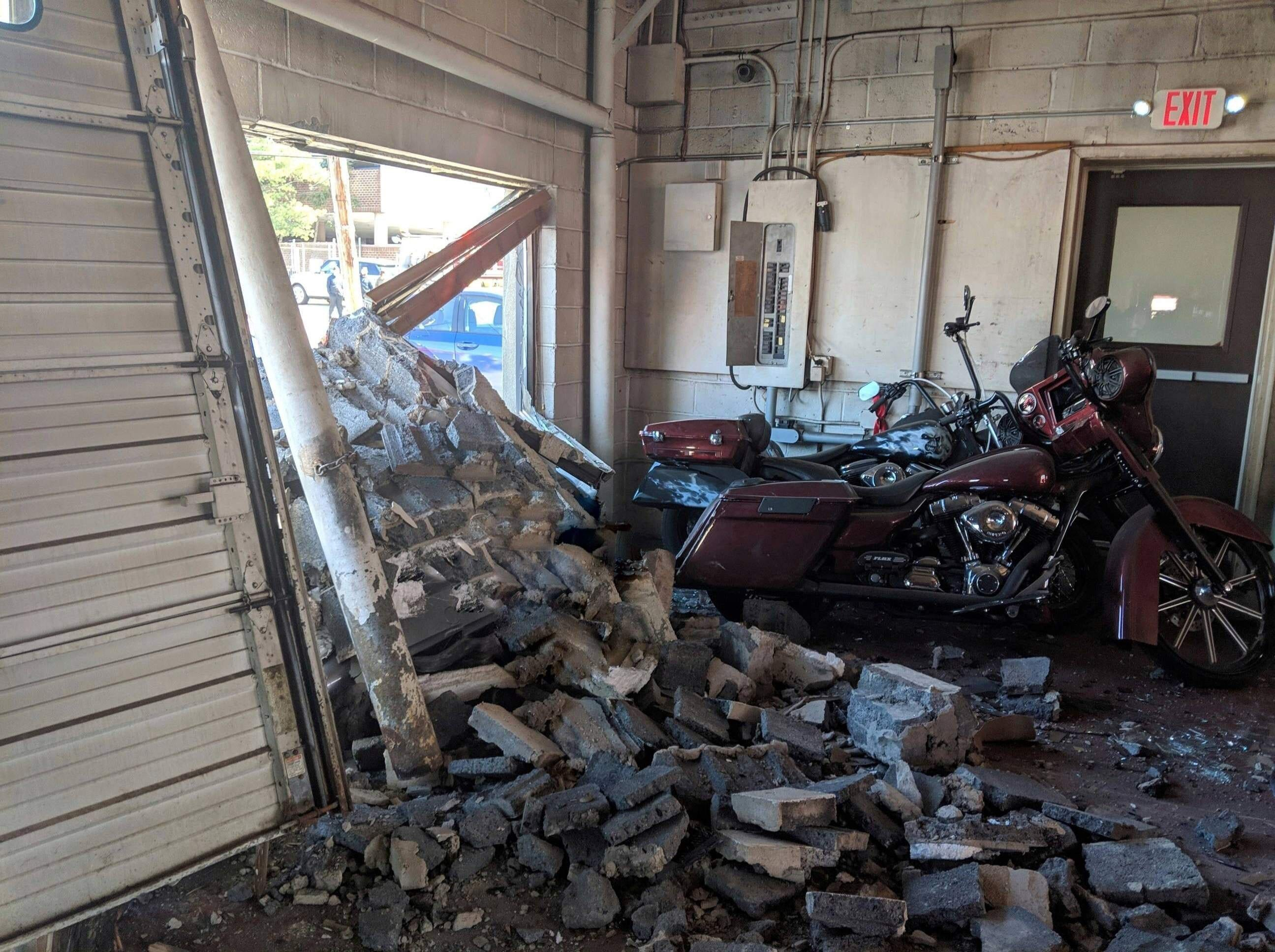 A car rammed into Breen Trucking, in Hackensack, on April 3.
