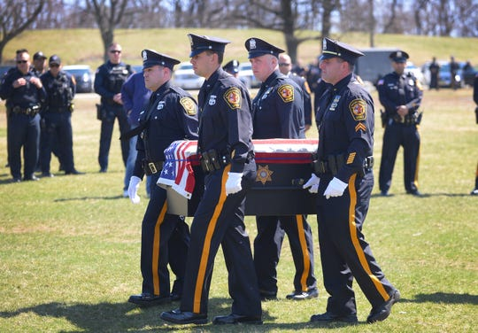 The casket of K-9 Leo arrives during a memorial service for Leo, a member of the Passaic County Sheriff's K-9 unit, who died in the line of duty last week, photographed at Garret Mountain Reservation in Woodland Park on 4/3/19.