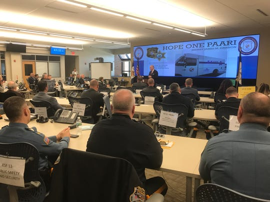Morris County Sheriff James Gannon announces a new Police Assisted Addiction Recovery Initiative at the county Public Safety and Training Academy in Parsippany. April 3, 2019