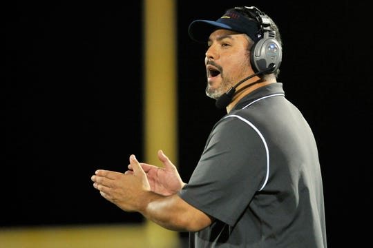 David Schuman, who is to be recommended to the Red Bank Regional Board of Education as Red Bank Regional High School's head football coach Wednesday night, is shown coaching Palisades Park/Leonia in 2013.