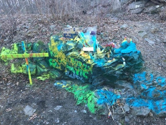 A memorial in Wanaque for two people killed in a crash in Ringwood was painted over and vandalized.
