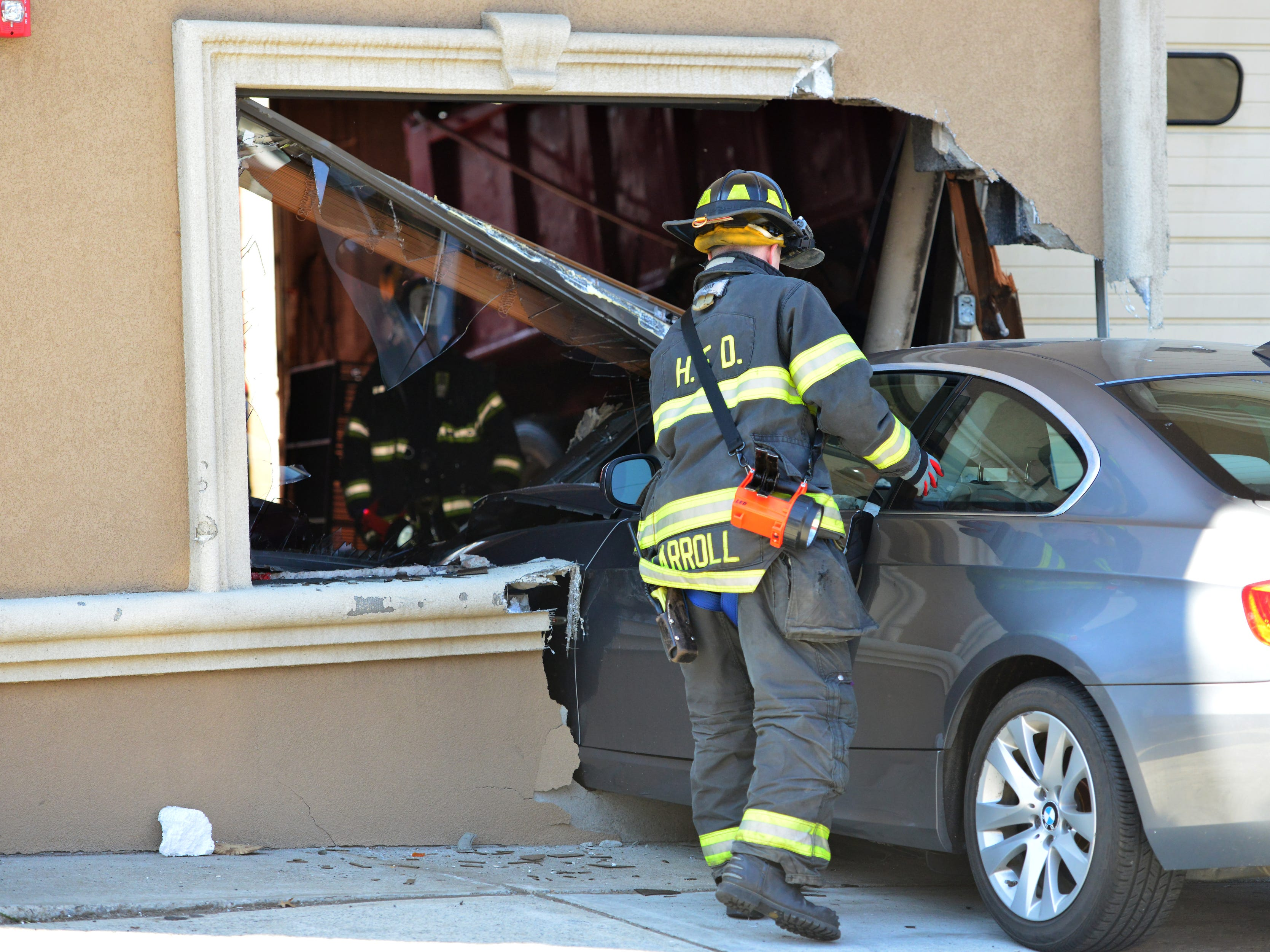 The female drive refused medical attention at the scene after driving her car into a building on W. Pleasantview Ave in Hackensack on Wednesday April 3, 2019.