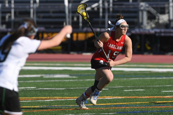 Lakeland girls lacrosse at Pascack Valley on Wednesday, April 3, 2019. L #19 Kendall Lomascola.