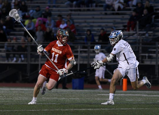 Don Bosco played Bergen Catholic at home in lacrosse on Tuesday, April 2, 2019. Thomas McGee #11 shoots and scores.