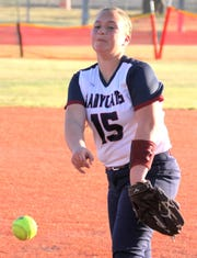Sophomore Lady 'Cats pitcher Palmira Valentine worked four strong innings against the Onate High Knights on Tuesday.