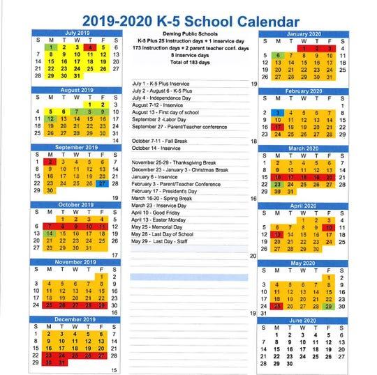Deming Public Schools K-5 School Calendar.