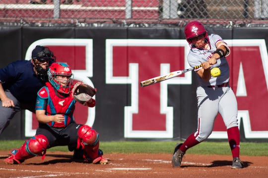 New Mexico State's Mya Fielder connects for a home run against the University of New Mexico on Tuesday at the NM State Softball Complex.