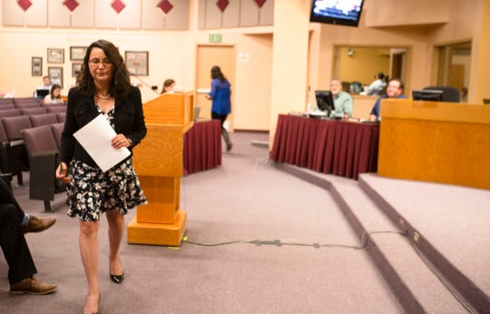 Las Cruces School District attorney Elena Gallegos presents an equal education policy expansion to the Las Cruces School Board on Tuesday, April 2, 2019.