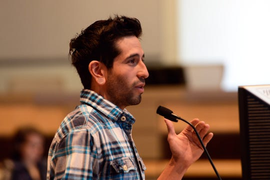 BMX rider Michael Jimenez speaks at Monday's City Council meeting about the need for the city to build new skateparks.