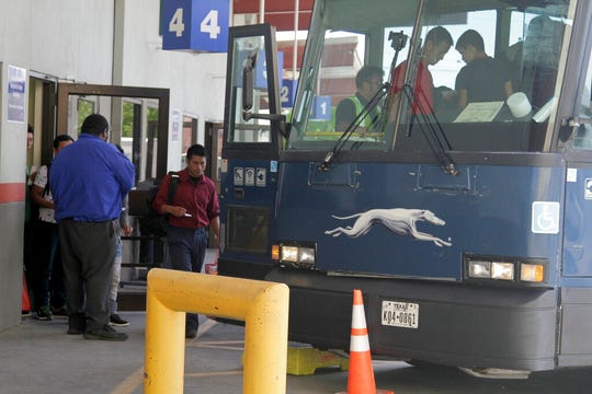 An asylum seeker from Guatemala board a Greyhound bus in El Paso, Texas, Tuesday, April 2, 2019. With immigrant processing and holding centers overwhelmed, the administration is busing people hundreds of miles inland and releasing them at Greyhound stations and churches in cities like Albuquerque, San Antonio and Phoenix because towns close to the border already have more than they can handle.