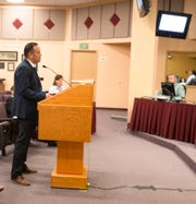 Robert Lozano, director of equity, innovation and social justice for Las Cruces Public Schools, discusses the importance of dual language programs at a Las Cruces Board of Education meeting on April 2, 2019.