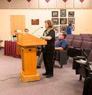 Las Cruces Public Schools construction projects director Gloria Martinez gives the school board updates on district  projects at a school board meeting on April 2, 2019.