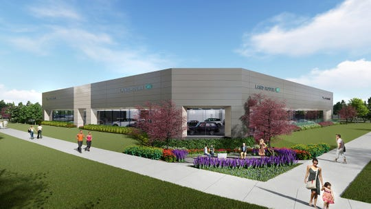 A rendering of the 58,000 square foot Jaguar Land Rover dealership planned for the corner of Grand River and Meadowbrook in Novi.