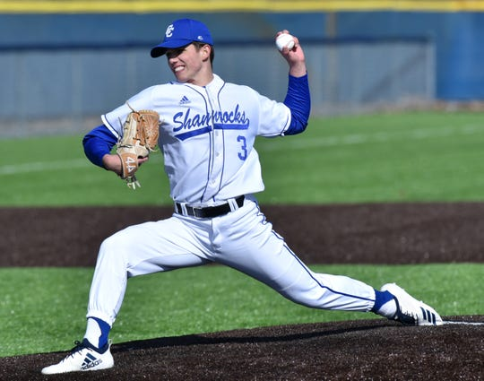 Detroit Catholic Central pitcher Cooper Donlin works to a Brother Rice batter during CC's April 3rd home game.