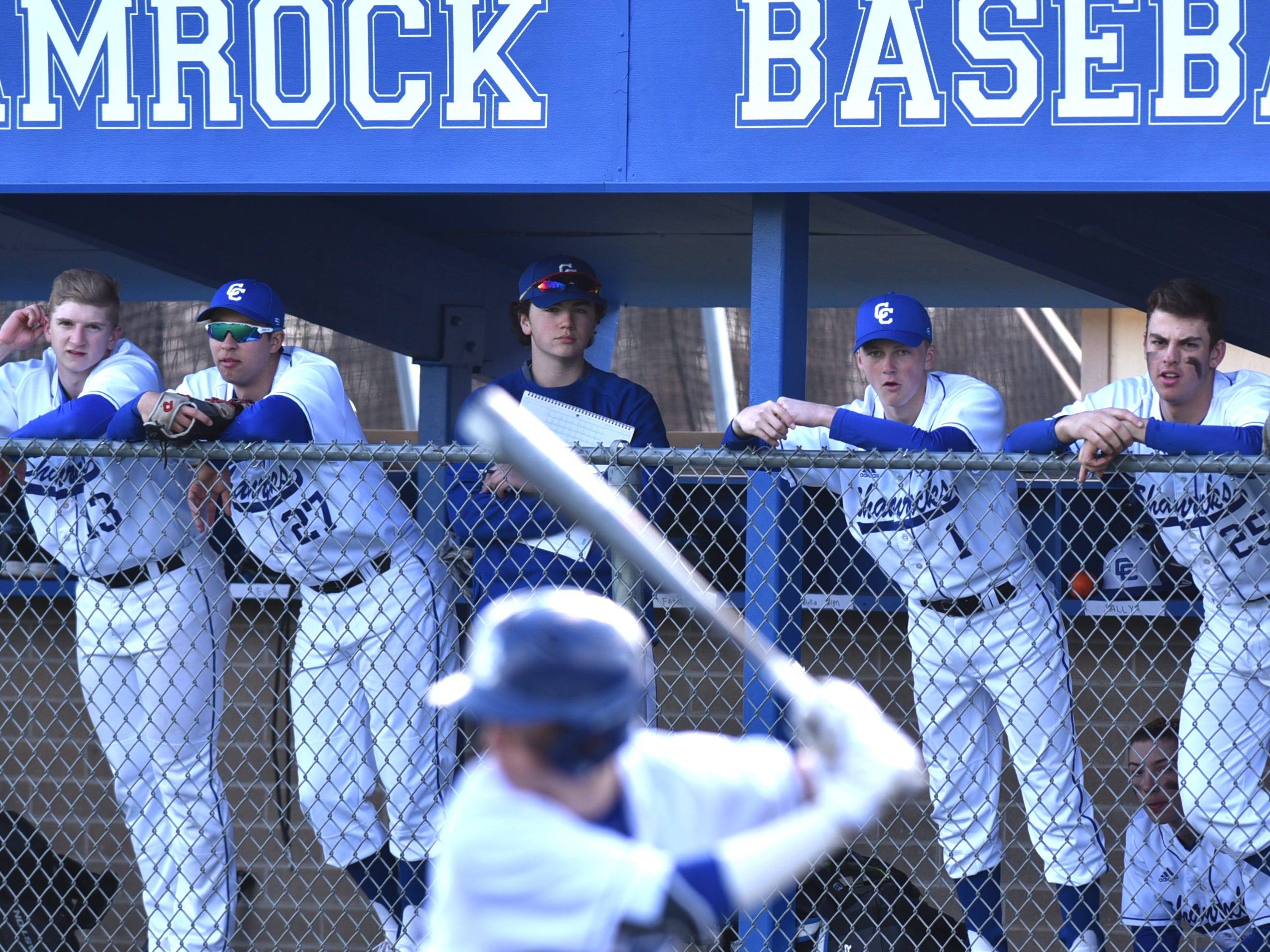 Shamrocks watch the game from their dugout on April 3.