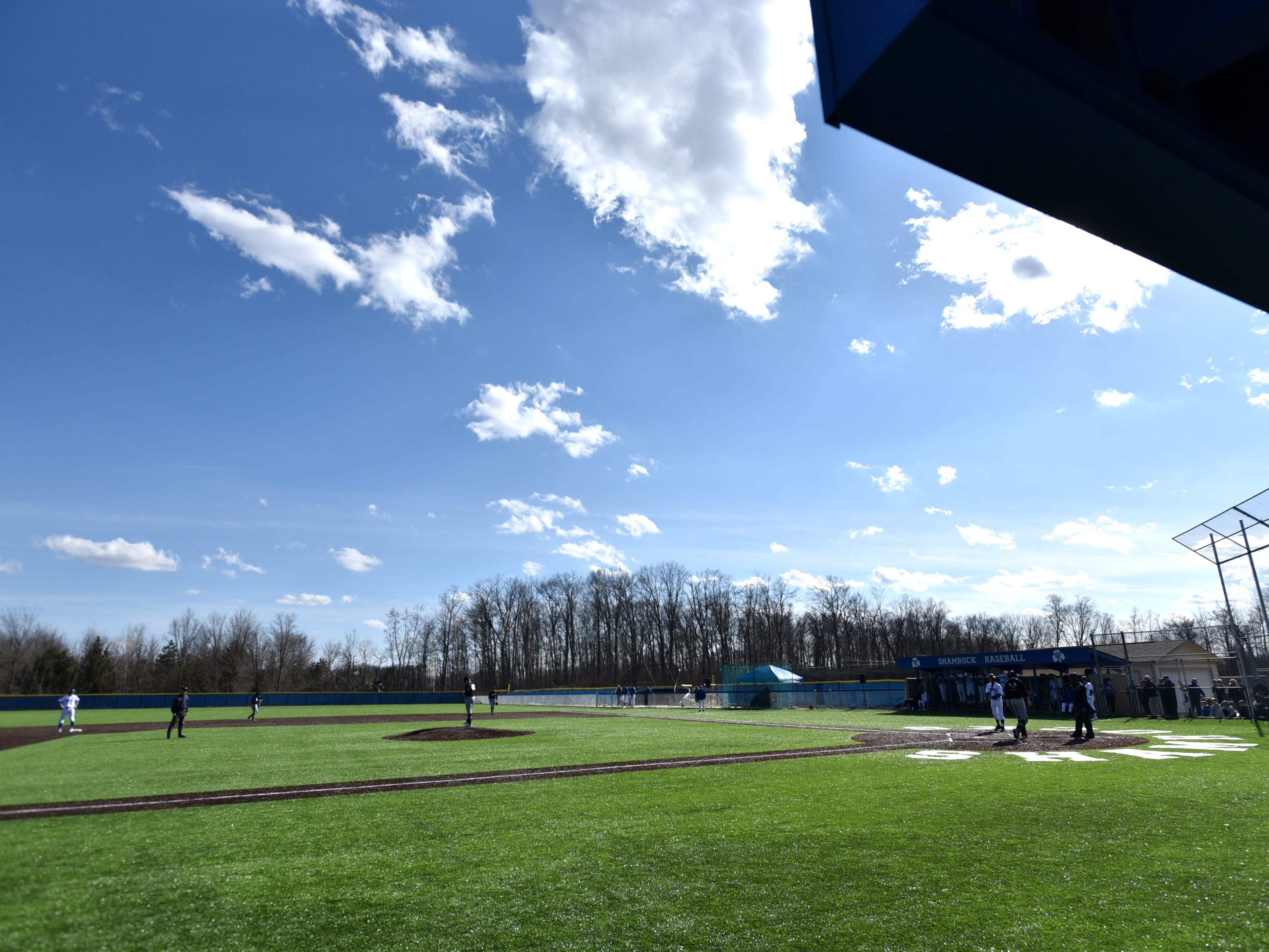 April 3rd's home game at Detroit Catholic Central was played under mostly sunny skies and temperatures in the upper 40s.