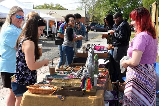 Vendors selling their wares on a Saturday morning in downtown Opelousas.