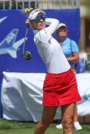 Nelly Korda tees off on the 10th hole at the ANA Inspiration pro-am at Mission Hills Country Club in Rancho Mirage, April 3, 2019.