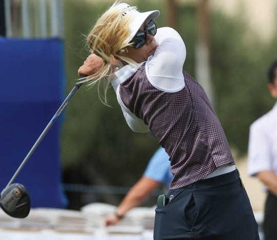 Defending champion Pernilla Lindberg tees off 10th hole at the ANA Inspiration pro-am at Mission Hills Country Club in Rancho Mirage, April 3, 2019.
