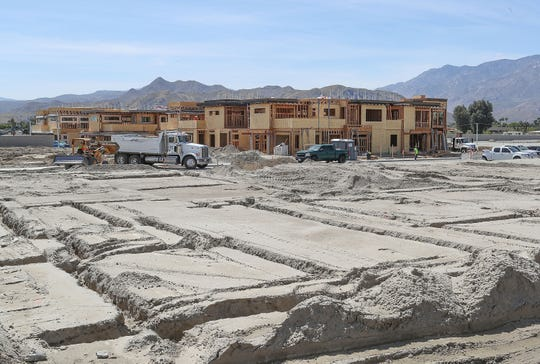 Construction is underway on the Vibe residential housing project in Palm Springs, March 3, 2019.