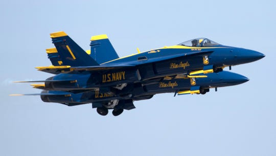 The Blue Angels take to the skies over Naval Air Station Pensacola for a practice April 3.
