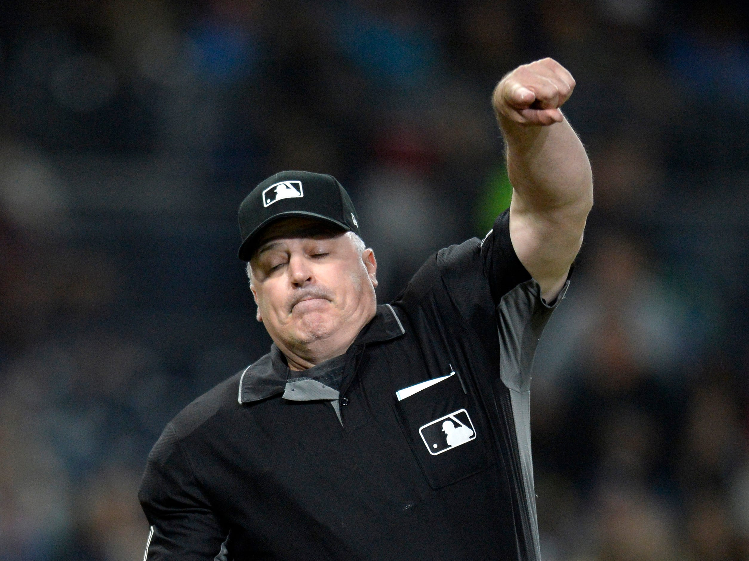 Apr 2, 2019; San Diego, CA, USA; Major League umpire Bill Welke (3) ejects San Diego Padres manager Andy Green (not pictured) during the sixth inning against the Arizona Diamondbacks at Petco Park. Mandatory Credit: Jake Roth-USA TODAY Sports