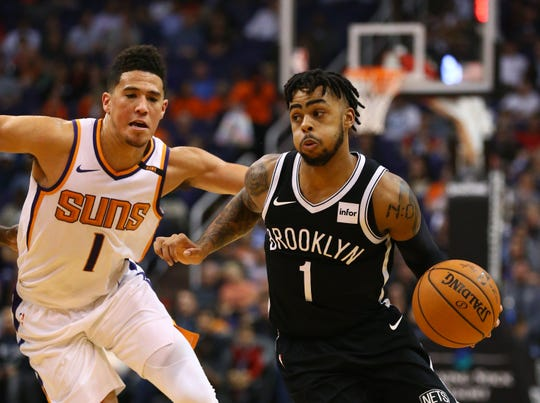 Could D'Angelo Russell (right) and Devin Booker be teammates on the Phoenix Suns?