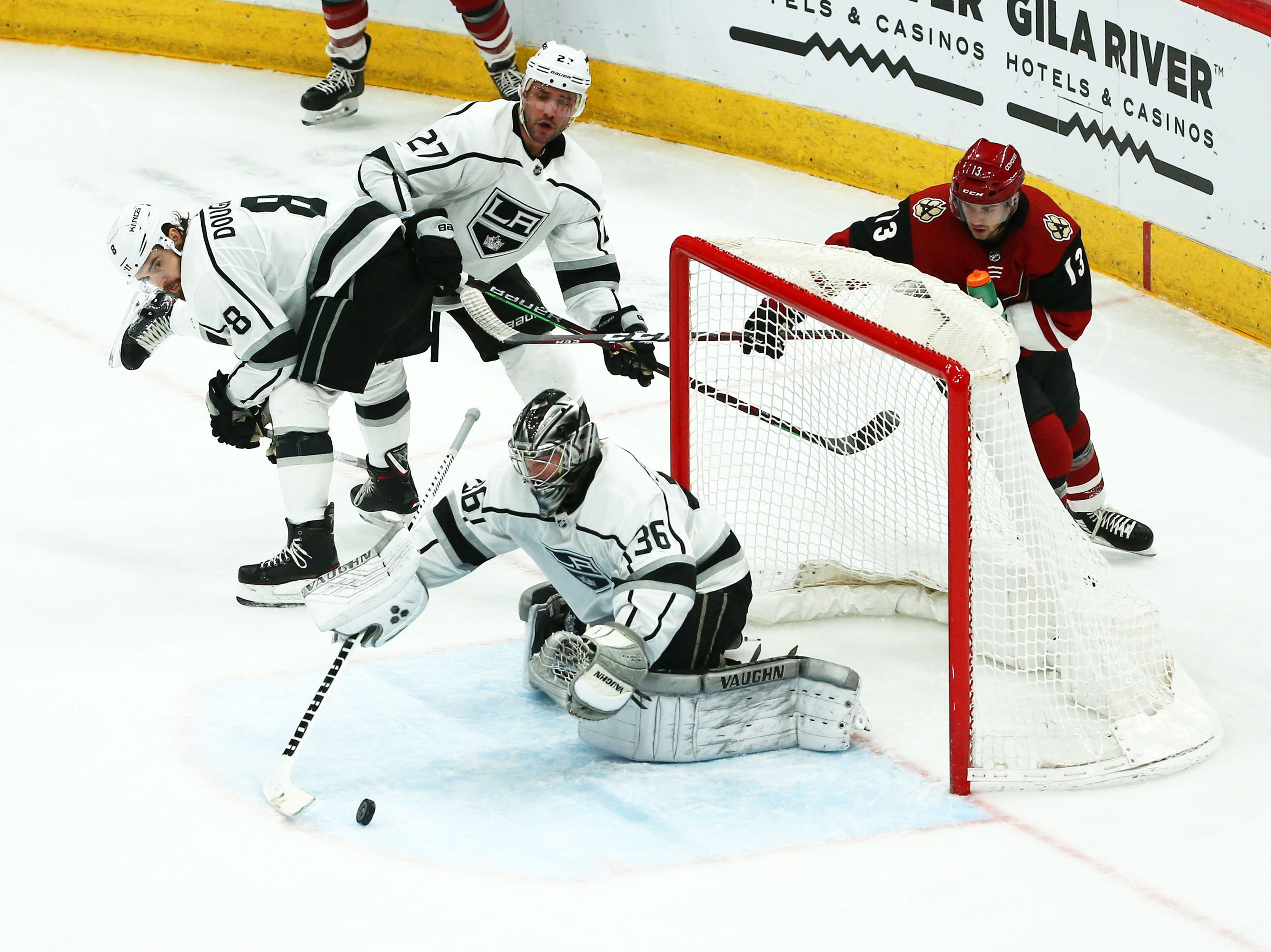 Los Angeles Kings goaltender Jack Campbell (36) blocks a shot by Arizona in the first period on Apr. 2, 2019 at Gila River Arena in Glendale, Ariz.