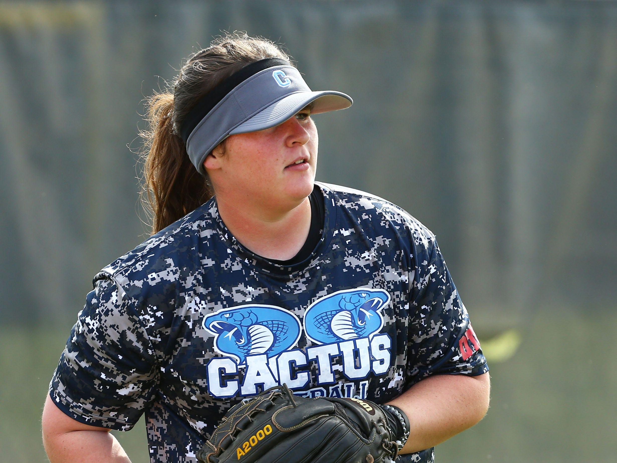 Cactus High softball player McKenna Feringa during practice on Apr. 2, 2019 at Cactus High School in Glendale, Ariz.