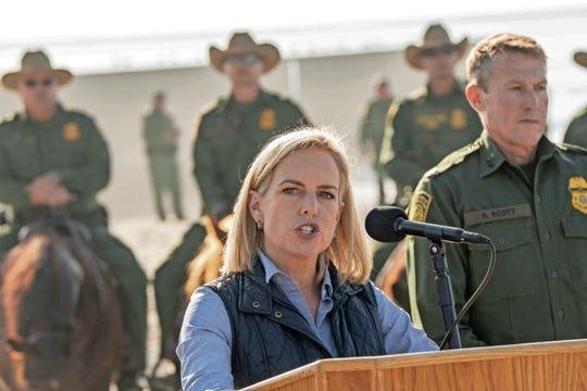 Homeland Security Secretary Kirstjen Nielsen toured at the U.S.-Mexico border fence in San Diego on Nov. 20, 2018.