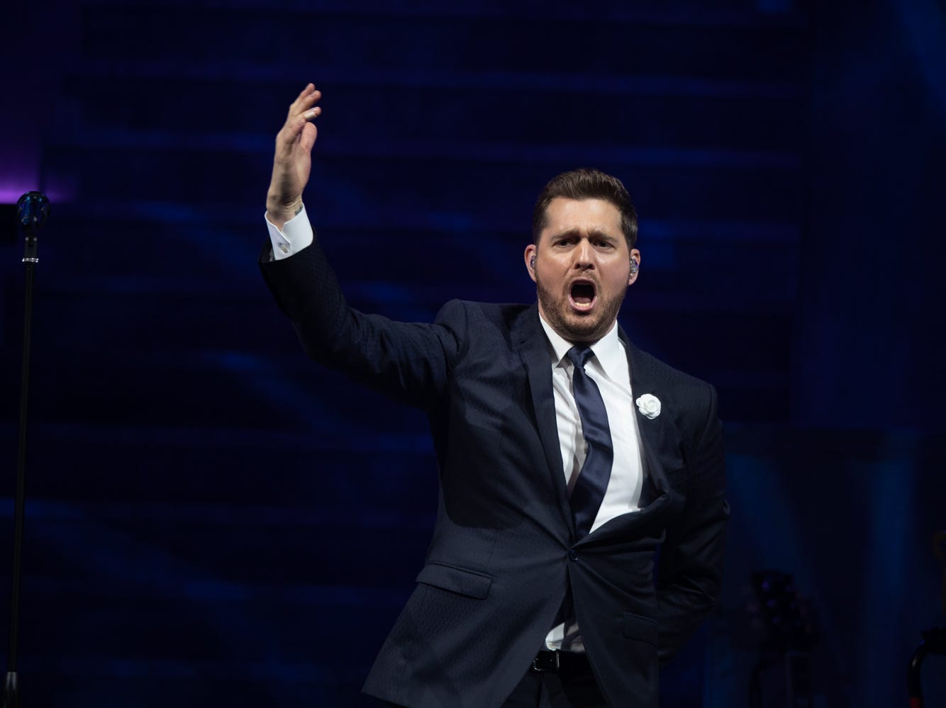 Singer Michael Bublé performs at Talking Stick Resort Arena in Phoenix on March 29, 2019.