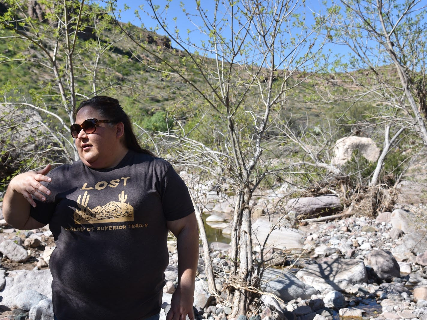 Mila Besich, mayor of Superior, hiking in Arnett Canyon.