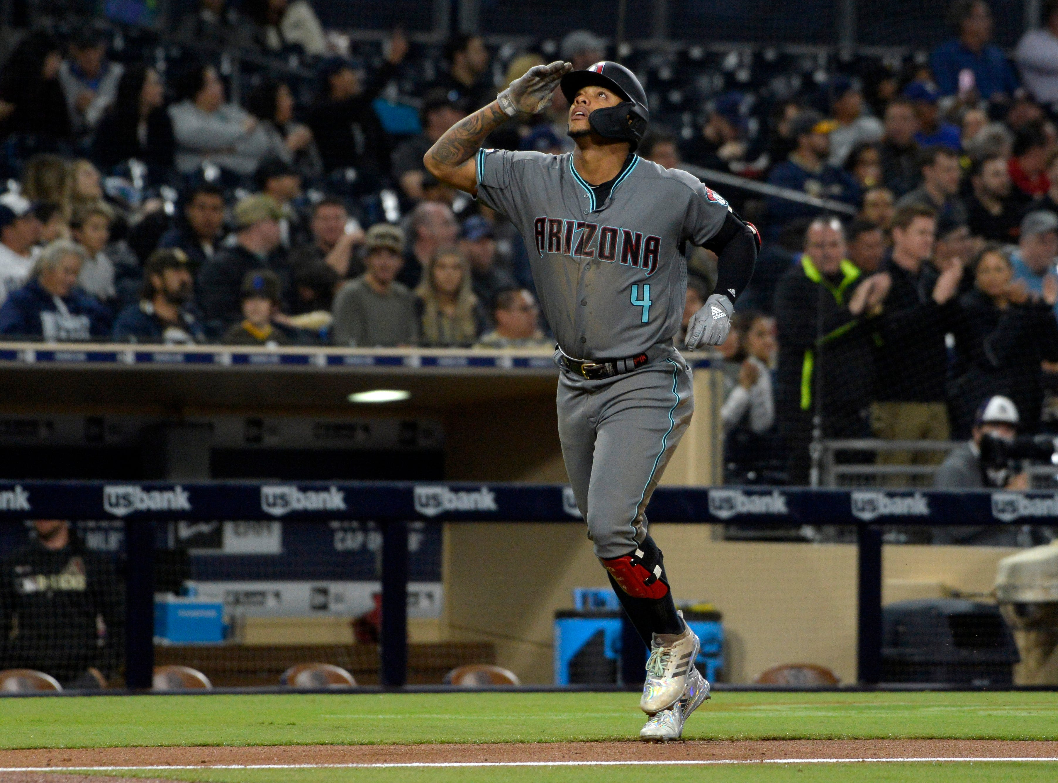 Apr 2, 2019; San Diego, CA, USA; Arizona Diamondbacks center fielder Ketel Marte (4) gestures after a solo home run during the fourth inning against the San Diego Padres at Petco Park. Mandatory Credit: Jake Roth-USA TODAY Sports
