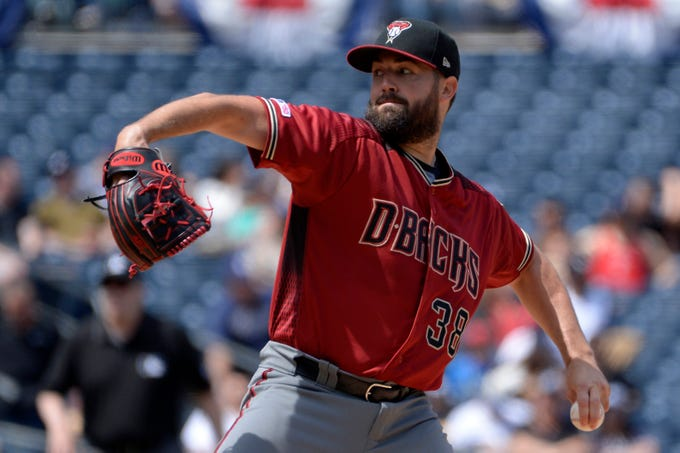 Apr 3, 2019; San Diego, CA, USA; Arizona Diamondbacks starting pitcher Robbie Ray (38) pitches against the San Diego Padres during the first inning at Petco Park. Mandatory Credit: Jake Roth-USA TODAY Sports