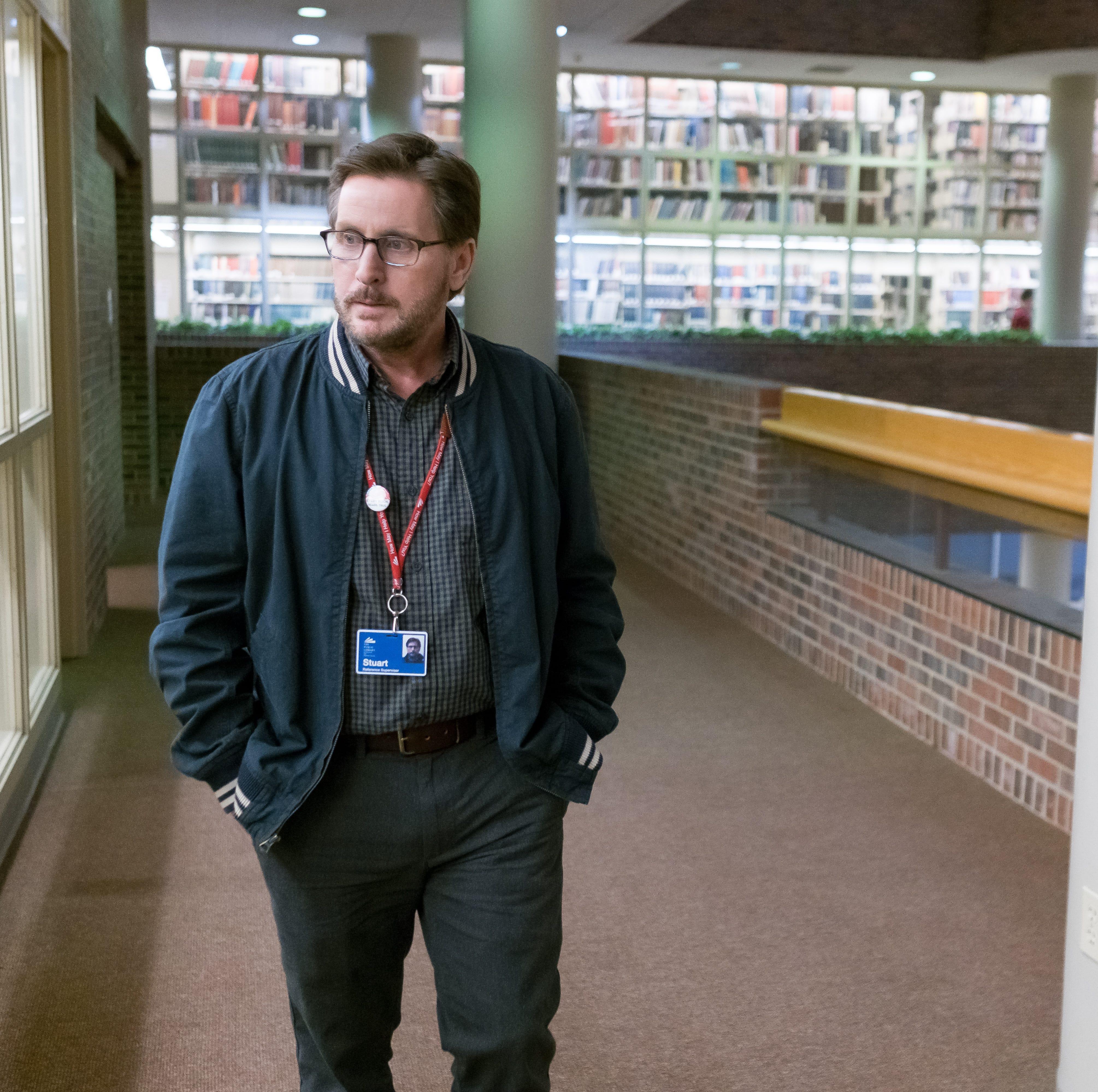 """Stuart (Emilio Estevez) is a librarian pushed to heroics in """"The Public."""""""