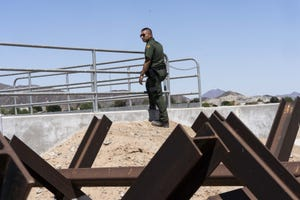 Jose Garibay, spokesman for the Border Patrol's Yuma sector, at the border on April 2, 2019.