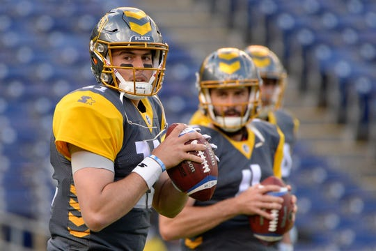 San Diego Fleet quarterback Mike Bercovici warms up before a game against the Salt Lake Stallions on March 9.