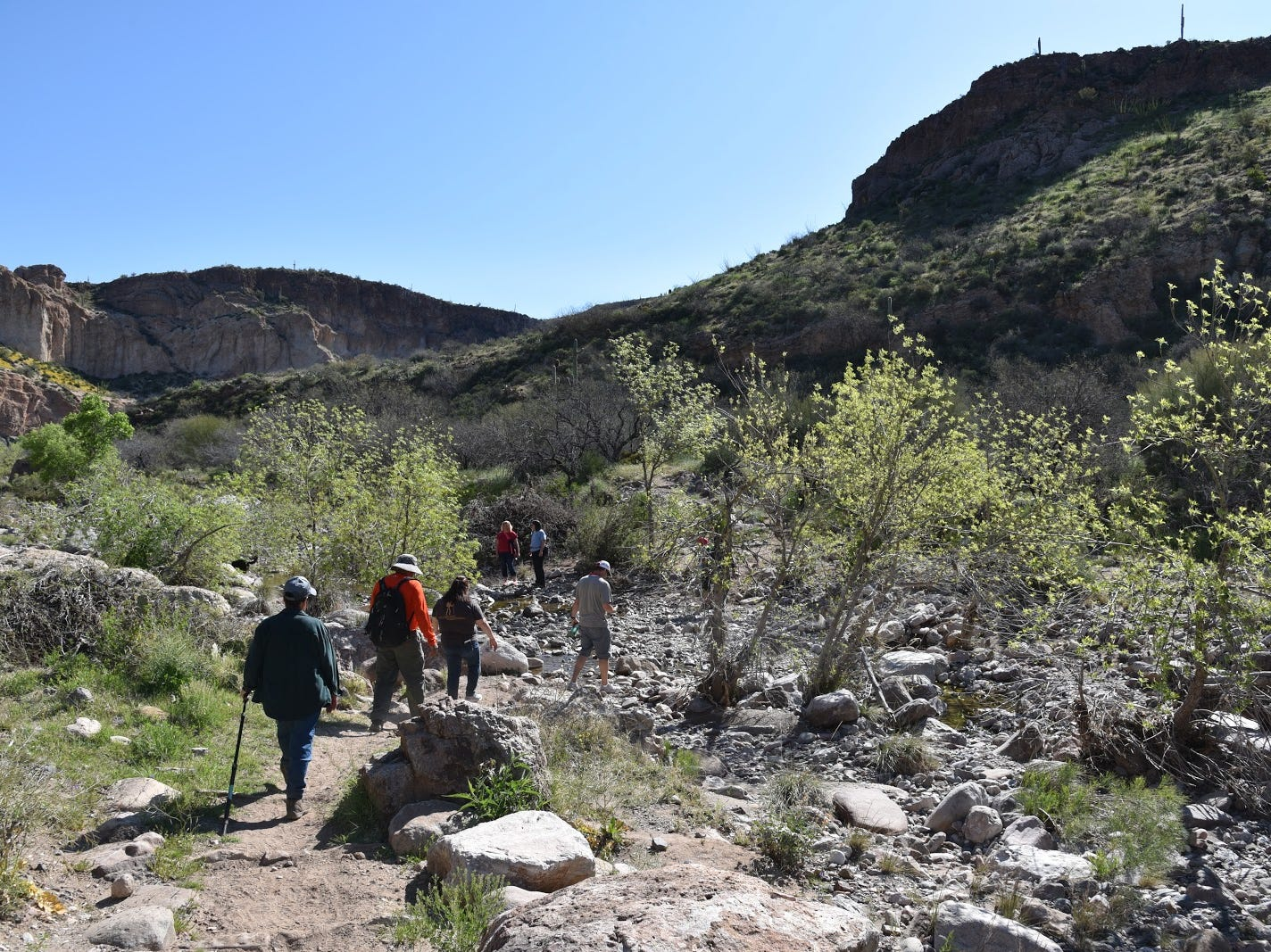 Hikers in Arnett Canyon.