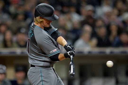 Apr 2, 2019: Arizona Diamondbacks starting pitcher Zack Greinke (21) hits a solo home run during the sixth inning against the San Diego Padres at Petco Park.
