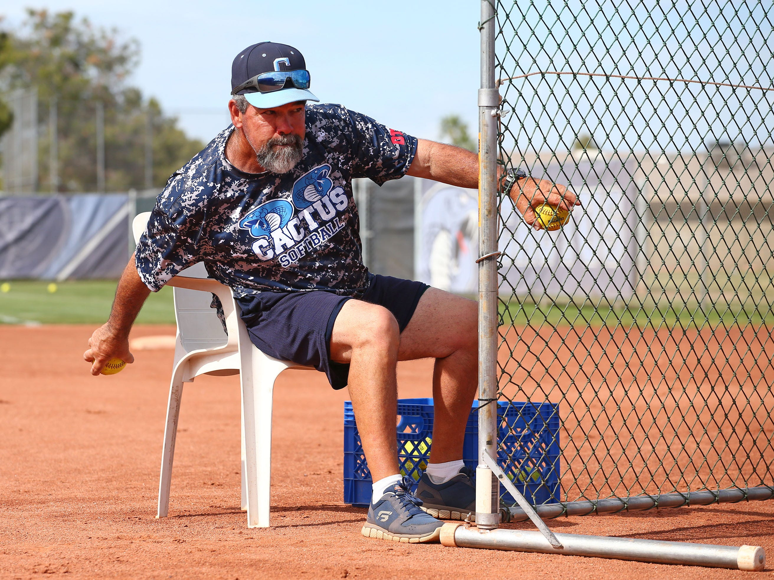 Cactus High softball coach Bartt Underwood during practice on Apr. 2, 2019 at Cactus High School in Glendale, Ariz.