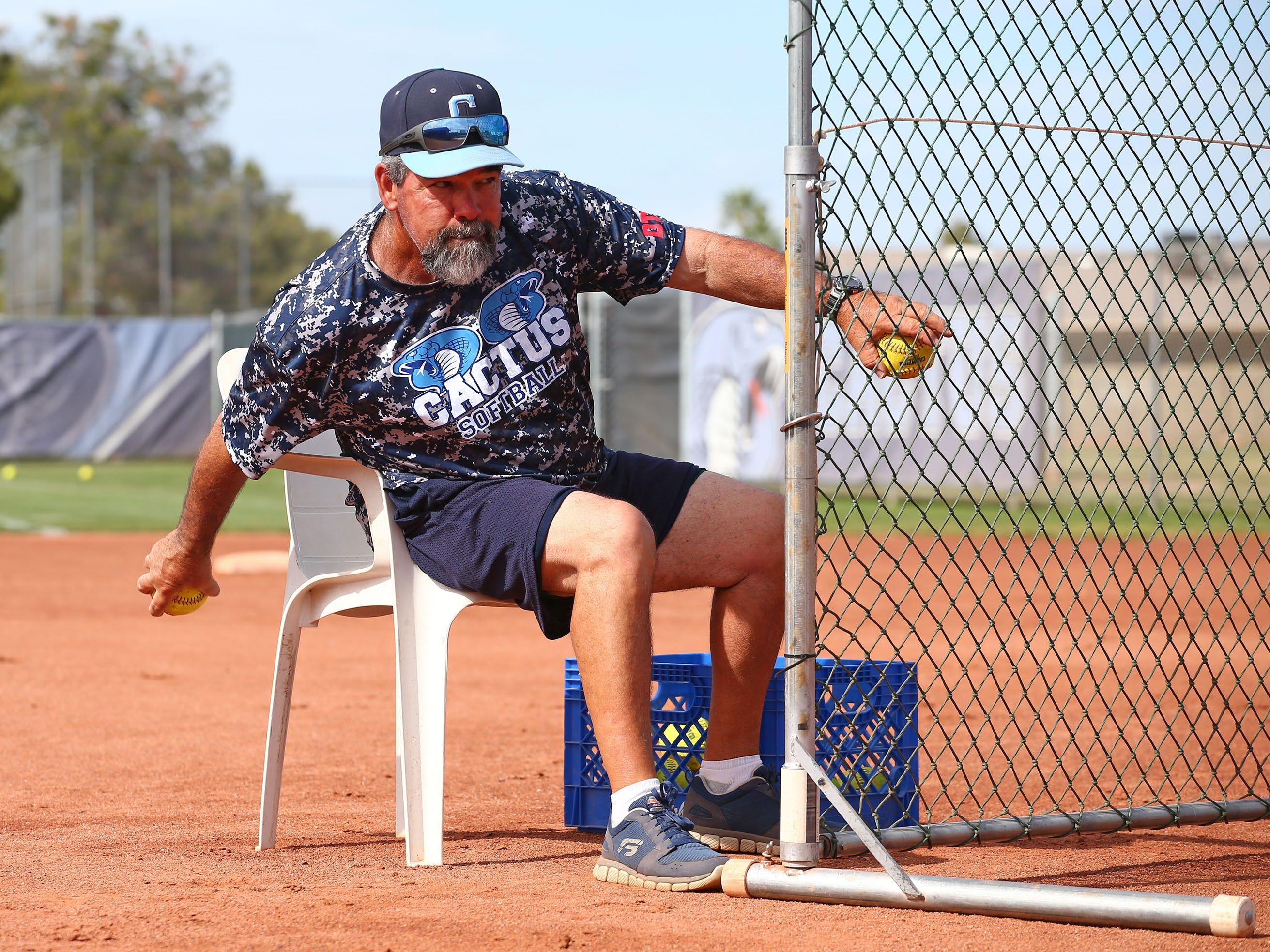 Cactus High softball coach Bartt Underwood during practice on Apr. 2, 2019 at Cactus High School in Glendale, Ariz.