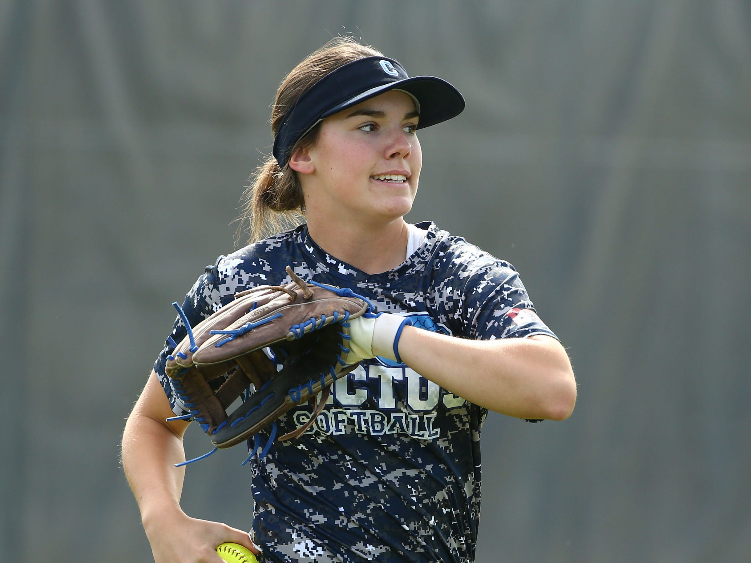Cactus High softball player Tanya Windle during practice on Apr. 2, 2019 at Cactus High School in Glendale, Ariz.