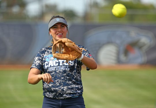 Cactus High softball player Alynah Torres during practice on Apr. 2, 2019 at Cactus High School in Glendale, Ariz.