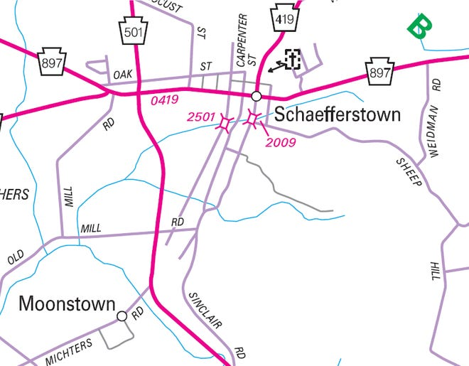 This PennDOT map shows the section of Market Street in Schaefferstown that will be closed for a bridge replacement.