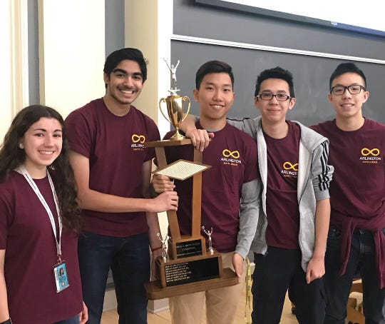 """The """"Arlington A"""" math team won the New York State Mathematics League sectionals competition March 13 at Vassar College. Members of the team are Emily Pinheiro, left to right, Keshav Ramji, Hung Tu , Bryce Holland and Brian Wu."""